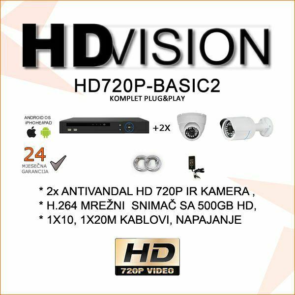 HD VIDEONADZOR KOMPLET PLUG&PLAY SA DVIJE KAMERE