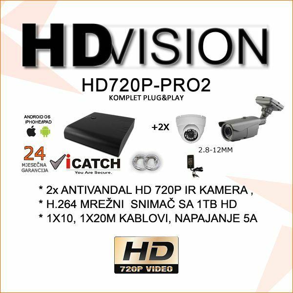 HD VIDEONADZOR KOMPLET PRO PLUG&PLAY SA 2 KAMERE