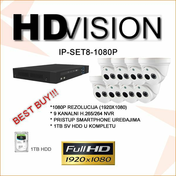 HDVISON FULL HD KOMPLET ZA VIDEO NADZOR SA 8 IR KAMERA