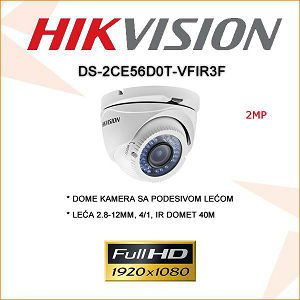 HIKVISION 2MP DOME KAMERA 2.8-12MM