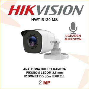 HIKVISION 2MP BULLET KAMERA HWT-B120-MS SA MIKROFONOM