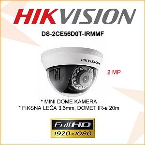 HIKVISION 2MP DOME KAMERA 3.6mm DS-2CE56D0T-IRMF