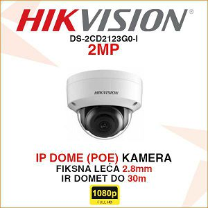 HIKVISION 2MP IP 2.8mm KAMERA U DOME KUĆIŠTU DS-2CD2123G0-I
