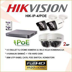 HIKVISION 2MP IP  KOMPLET SA 4 POE KAMERE  PLUG&PLAY