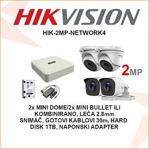 HIKVISION 2MP NADZORNI KOMPLET S 4 KAMERE PLUG & PLAY