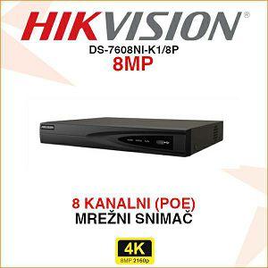 HIKVISION 4K POE 8 KANALNI MREŽNI SNIMAČ DS-7608NI-K1/8P