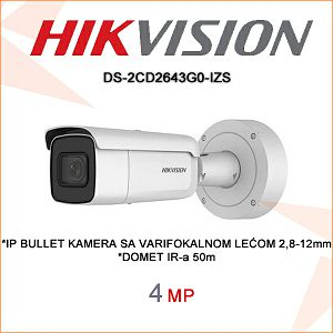 HIKVISION 4MP IP BULLET KAMERA 2,8mm - 12mm