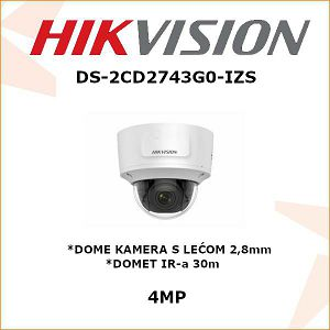 HIKVISION 4MP DOME KAMERA 2,8mm - 12mm