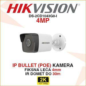 HIKVISION 4MP IP BULLET KAMERA 4mm DS-2CD1043G0-I