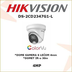HIKVISION ColorVu 4MP IP DOME KAMERA 4mm DS-2CD2347G1-L