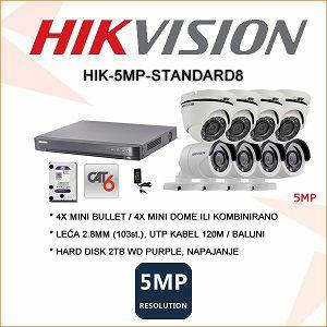 HIKVISION 5MP KOMPLET SA 8 KAMERA PLUG&PLAY
