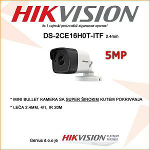 HIKVISION 5MP MINI BULLET KAMERA SA LEĆOM 2.4MM