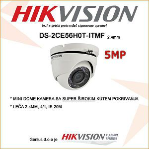 HIKVISION 5MP MINI DOME SA LEĆOM 2.4MM