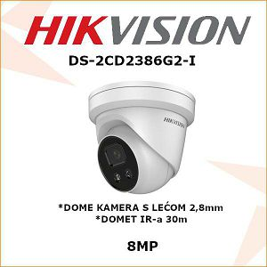 HIKVISION 8MP IP DOME KAMERA ZA VIDEO NADZOR DS-2CD2386G2-I