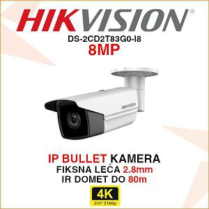 HIKVISION 8MP IP BULLET KAMERA 2.8mm DS-2CD2T83G0-I8