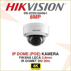 HIKVISION 8MP IP DOME KAMERA 2,8mm