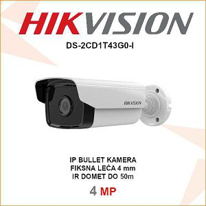 HIKVISION IP 4MP IR BULLET 4mm KAMERA DS-2CD1T43G0-I