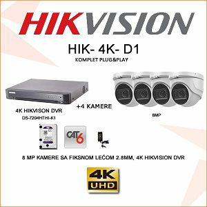 HIKVISION ULTRA HD 8MP KOMPLET SA 4 KAMERE