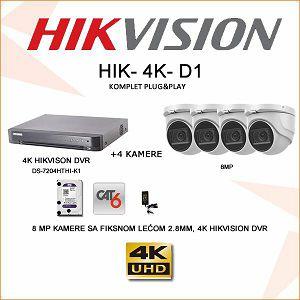 HIKVISION ULTRA HD 8MP KOMPLET SA 4 KAMERE