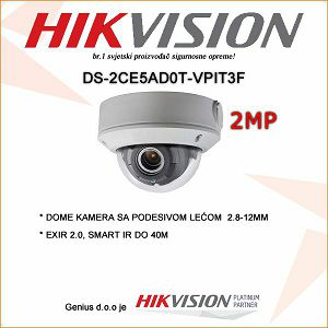 HIKVISION 2MP EXIR DOME KAMERA 2.8-12MM