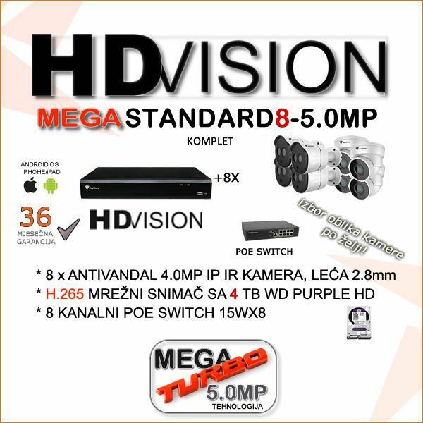 IP POE KOMPLET ZA VIDEONADZOR SA OSAM 5.0 MP KAMERA H.265