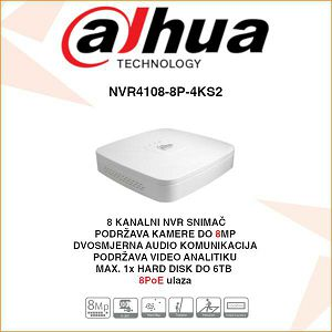 DAHUA 8 KANALNI 4K NVR Smart 1U 8PoE 4K & H.265 SNIMAC ZA VIDEONADZOR NVR4108-8P-4KS2