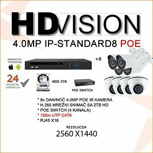 POE KOMPLET ZA VIDEONADZOR SA OSAM 4.0 MP POE KAMERA H.265
