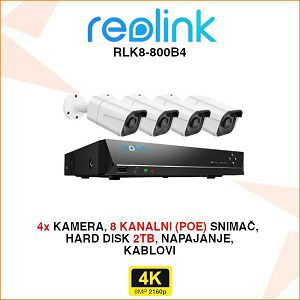 REOLINK 4K IP POE SET ZA VIDEO NADZOR S 4 KAMERE