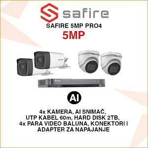 SAFIRE 5MP AI SET ZA VIDEO NADZOR - AcuSense TEHNOLOGIJA
