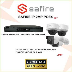 VIDEO NADZOR IP POE SET 2MP SA 4 KAMERE