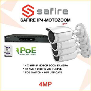 VIDEO NADZOR IP POE SET 4MP SA 4  MOTO ZOM KAMERE