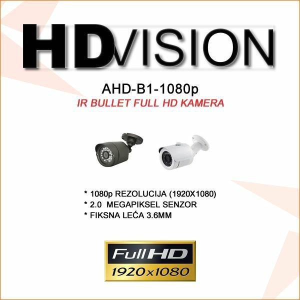 AHD BULLET KAMERA 2.0MP ZA VIDEONADZOR 1080P 3.6MM/25M IR