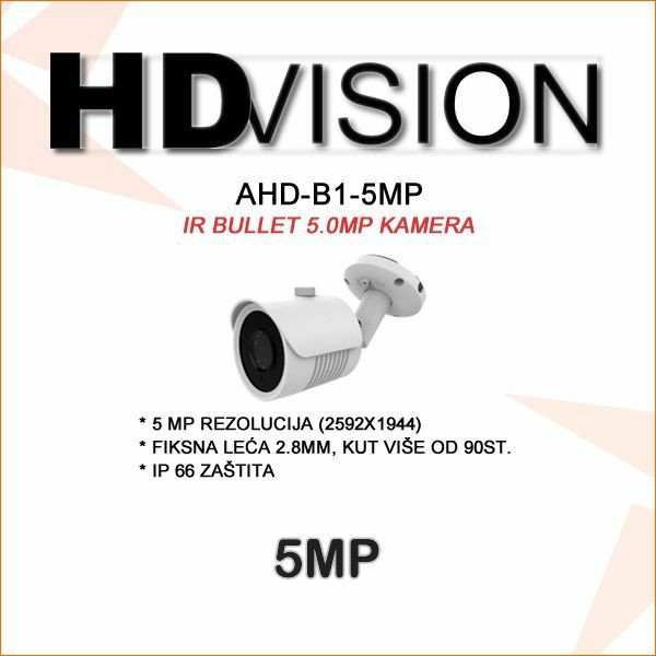 AHD-TVI BULLET KAMERA 5.0MP ZA VIDEONADZOR 2.8MM