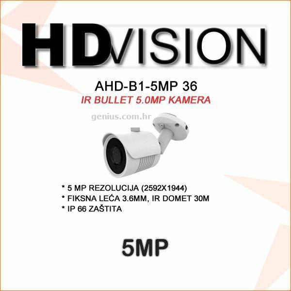 AHD-TVI BULLET KAMERA 5.0MP ZA VIDEONADZOR 3.6MM