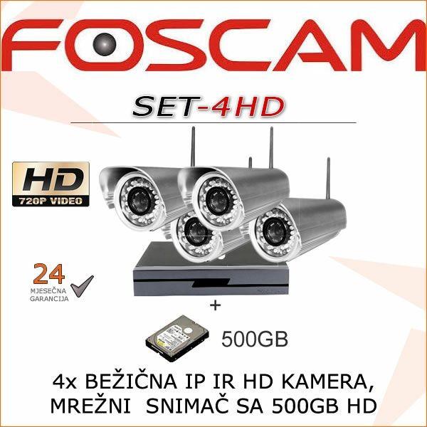 FOSCAM BEŽIČNI HD720P IP KOMPLET ZA VIDEONADZOR SA 4 KAMERE