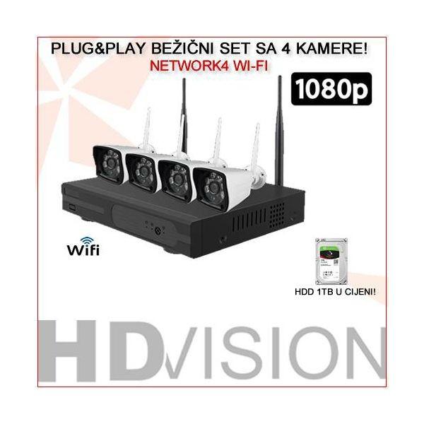 BEŽIČNI SET SA 4 KAMERE 1080p