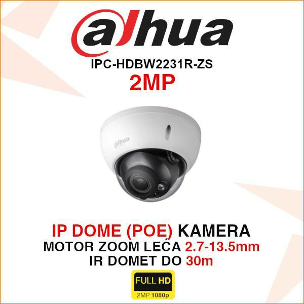 DAHUA 2MP IP DOME KAMERA ZA VIDEONADZOR IPC-HDBW2231R-ZS