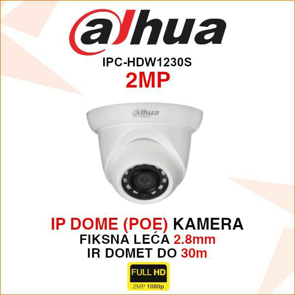 DAHUA 2MP IP DOME KAMERA ZA VIDEONADZOR IPC-HDW1230S