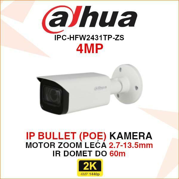 DAHUA 4MP IP BULLET KAMERA ZA VIDEONADZOR IPC-HFW2431TP-ZS