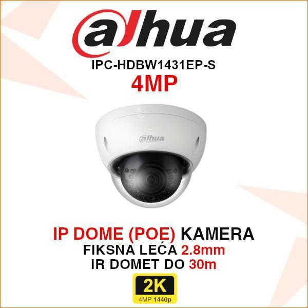 DAHUA 4MP IP DOME KAMERA ZA VIDEONADZOR IPC-HDBW1431E