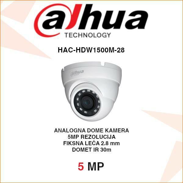 DAHUA 5MP CVI DOME KAMERA ZA VIDEONADZOR HAC-HDW1500M-28