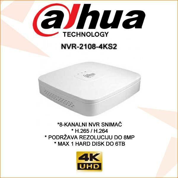 DAHUA 8 KANALNI 4K IP SNIMAČ NVR-2108-4KS2