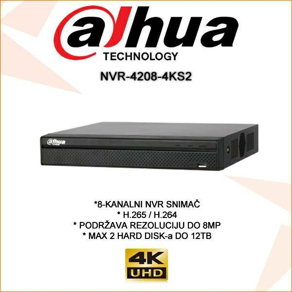 DAHUA 8 KANALNI 4K IP SNIMAČ NVR-4208-4KS2