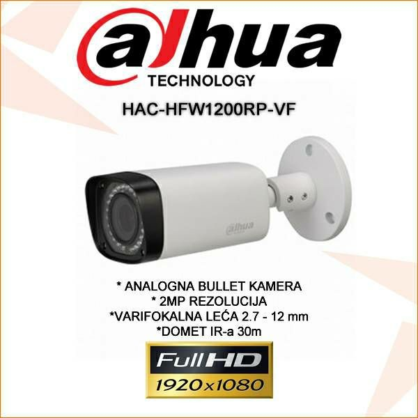 DAHUA CVI VARIFOKALNA BULLET KAMERA ZA VIDEONADZOR 2MP HAC-HFW1200RP-VF