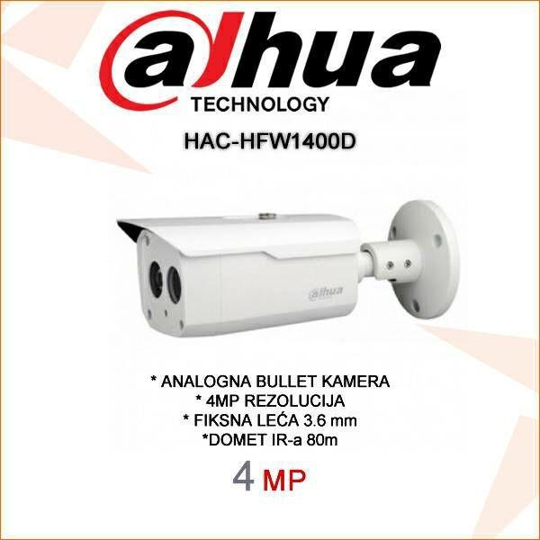 DAHUA CVI BULLET KAMERA ZA VIDEONADZOR 4MP HAC-HFW1400D