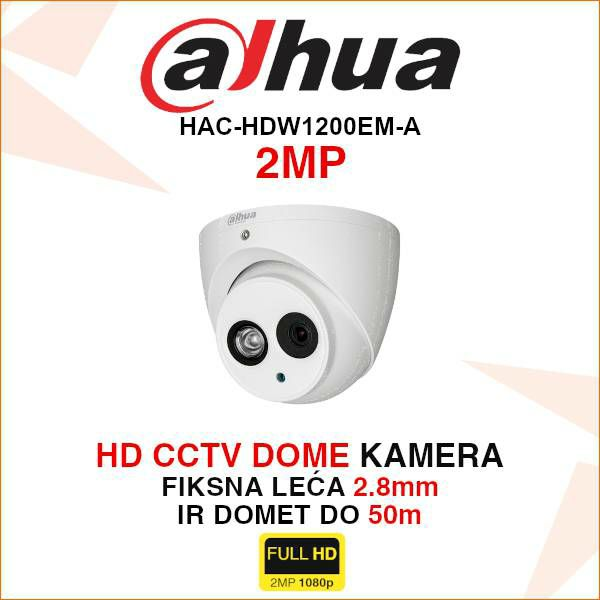 DAHUA CVI DOME KAMERA ZA VIDEONADZOR 2MP HAC-HDW1200EM-A