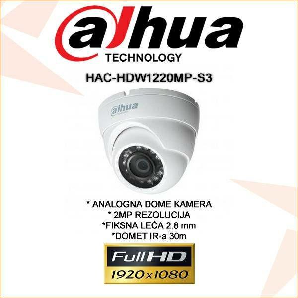 DAHUA CVI DOME KAMERA ZA VIDEONADZOR 2MP HAC-HDW1220MP-S3