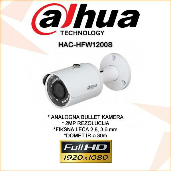 DAHUA CVI BULLET KAMERA ZA VIDEONADZOR 2MP HAC-HFW1200S