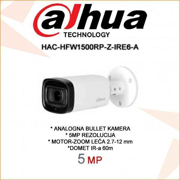 DAHUA CVI MOTOR-ZOOM BULLET KAMERA ZA VIDEONADZOR 5MP HAC-HFW1500RP-Z-IRE6-A