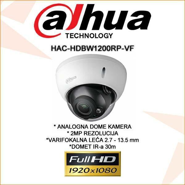 DAHUA CVI VARIFOKALNA DOME KAMERA ZA VIDEONADZOR 2MP HAC-HDBW1200RP-VF